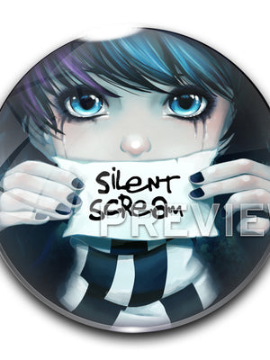 Anna Blue 2.25 inch (56 mm) Silent Scream badge