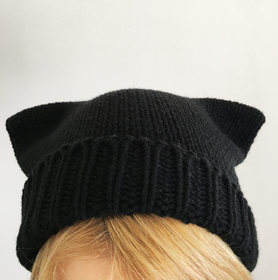5c24ce8bd79 Understated black Zoe beanie with cat ears as seen in