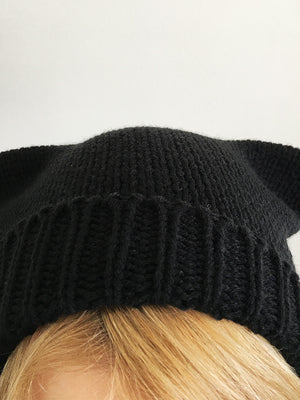 "Understated black Zoe beanie with cat ears as seen in ""Silent Scream"" for Anna Blue fans, cosplayers and otaku. One size vegan friendly 100% soft washable polyacrylic hat."