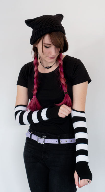 Anna Blue Emo black and white striped long arm warmers and cat ear beanie