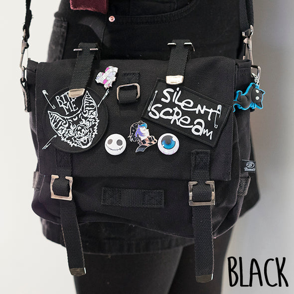 Anna Blue alternative fashion bag with Silent Scream and Bat patches, pins and buttons.
