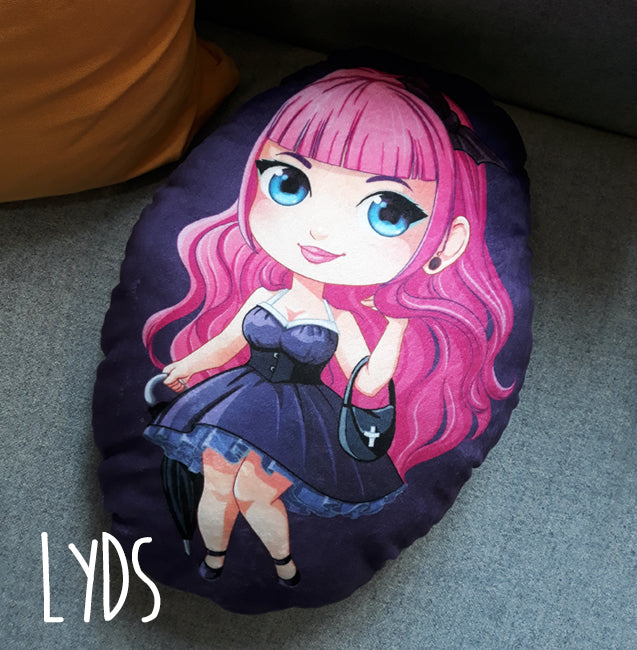 40 cm big chibi Lyds cuddle me pillow made of soft plush fabric with a velveteen feel, filled with PES cluster-fiber