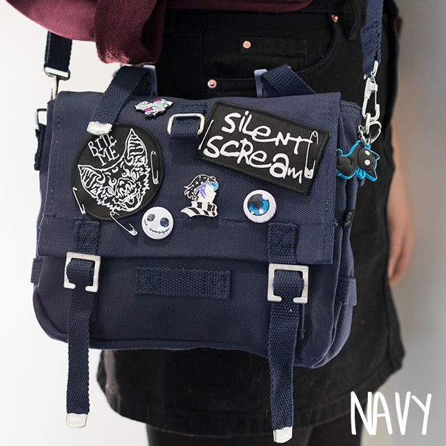 Navy Anna Blue alternative fashion bag with Silent Scream and Bat patches, pins and buttons.