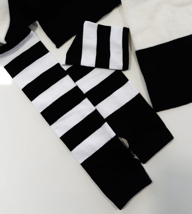 Anna Blue Emo black and white striped long arm warmers
