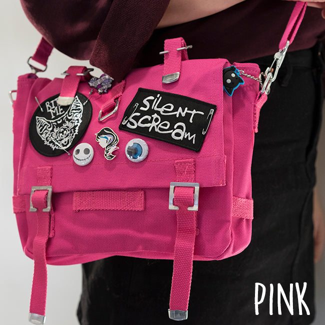 Pink Anna Blue alternative fashion bag with Silent Scream and Bat patches, pins and buttons.