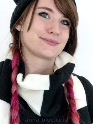 Model wearing Anna Blue alternative fashion emo striped black and white scarf and the cat ear beanie ( hat )