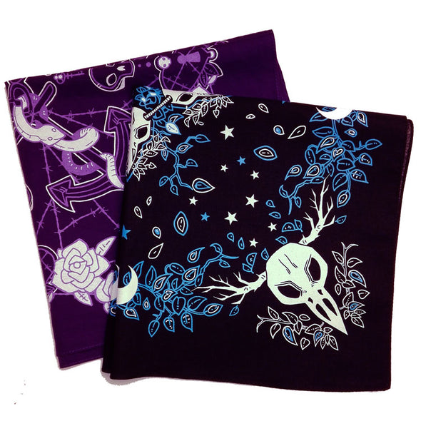 Multi-purpose and gender neutral in black and purple. 100% cotton fabric with phtalate free printing inks (baby safe) with gothic and emo patterns.