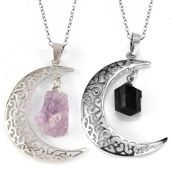 Natural Stone Crystal Crescent Moon Pendant Necklace