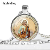 Saint Barbara Glass Photo Necklace