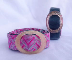 Hippy Chic Skinny Mini - Reversible Magenta Mountains Belt