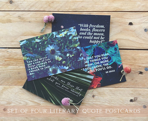 Book Lover Literary Quote Postcard Set | Set of 4 | Oscar Wilde, C.S. Lewis, Dr Seuss, George Orwell