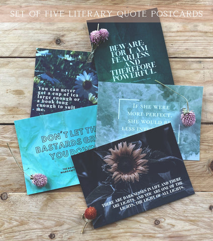 Bronte, Atwood, Stoker, Lewis, Shelley | Beautiful, Green, Classic Literary Quote Postcards | Set of 5