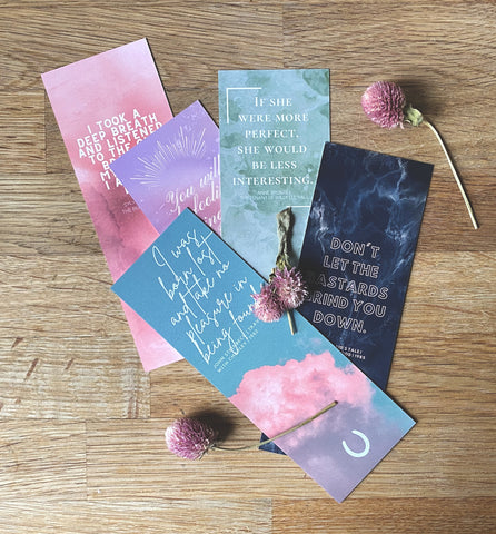 Gorgeous & Empowering Classic Literary Quote Bookmarks | Set of 5 | Atwood, Steinbeck, Bronte, Plath, Colette