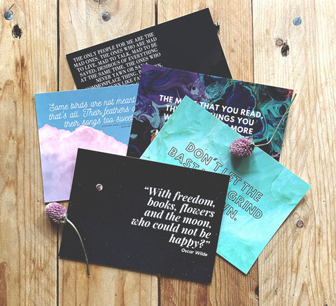Kerouac, Atwood, Dr Seuss, Wilde, King | Literary Quote Postcards | Set of 5