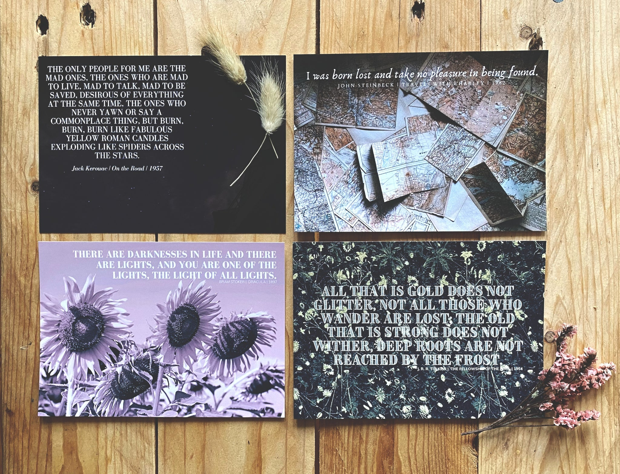 Stoker, Kerouac, Steinbeck, Tolkien | Literary Quote Postcards | Set of 4