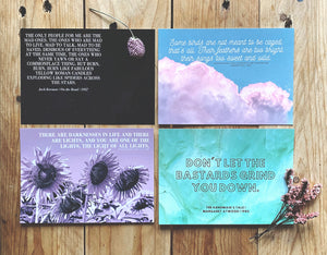 Stoker, Kerouac, King, Atwood | Literary Quote Postcards | Set of 4
