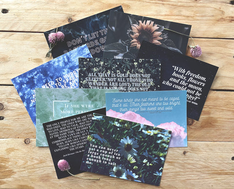 Classic and Beautiful Literary Quote Postcards | Set of 9