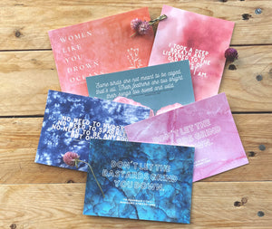 Atwood, Woolf, Plath, Kaur, King | Gorgeous Pink and Blue Feminist Literary Quote Postcards | Set of 6