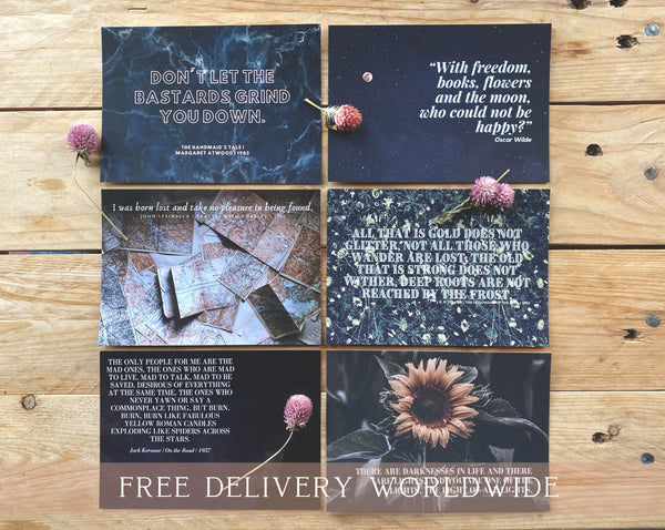 Kind and Uplifting Literary Quote Postcards | Set of 6 | Wilde, Steinbeck, Stoker, Tolkien, Atwood, Kerouac