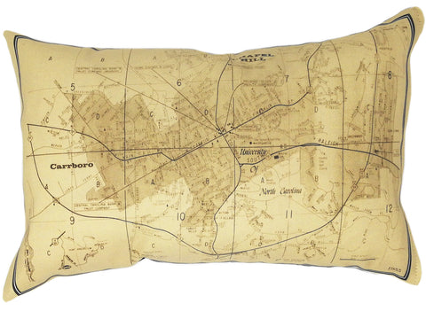 Chapel Hill NC Vintage Map Pillow