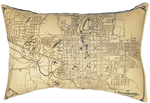 Raleigh NC Vintage Map Pillow