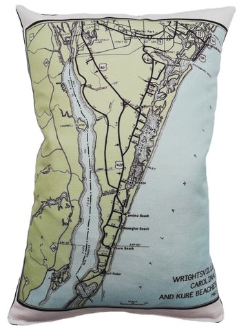 Wrightsville, Carolina, and Kure Beaches Vintage Map Pillow