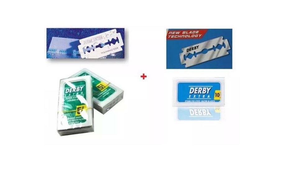 DERBY GREEN + BLUE DOUBLE EDGE RAZOR BLADES 50 BLADES EACH