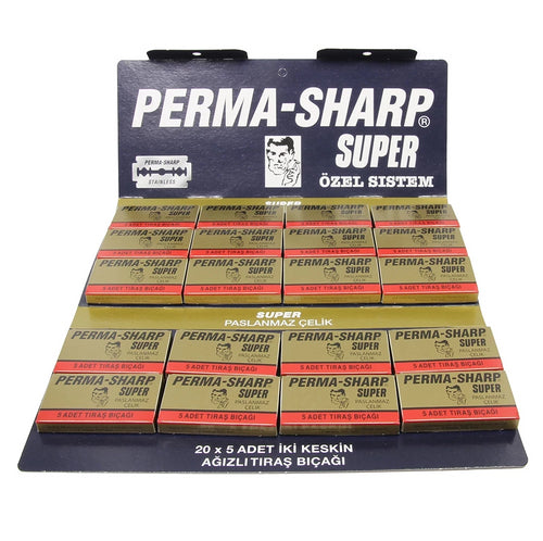Perma Sharp Double Edge Razor Blades Hanging Card - Pack of 100