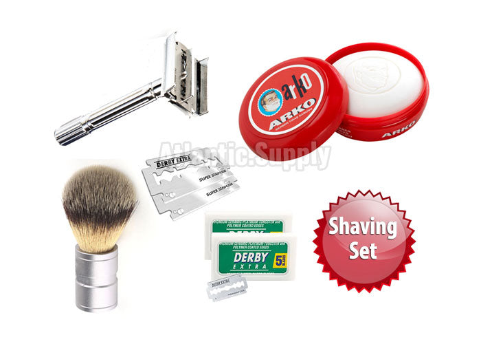 SHAVING SET - DOUBLE EDGE RAZOR+ SYNTHETIC BRUSH+SHAVING SOAP IN BOWL