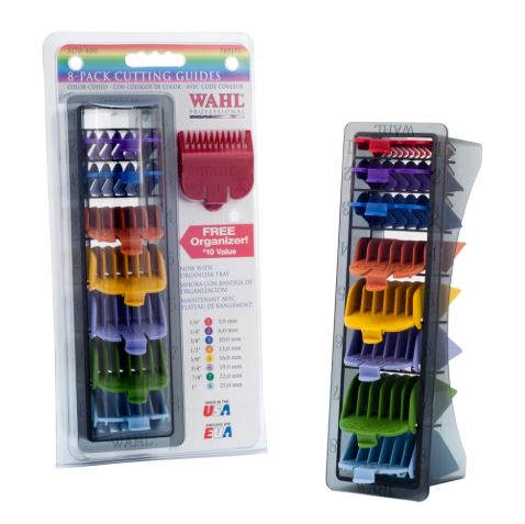 WAHL PROFESSIONAL - 8 Pack Colour Coded Cutting Guides with Organizer