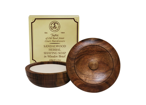 Taylor Of Old Bond Street Sandalwood Herbal Shaving Soap Wooden Bowl - 100 gr