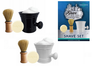 The Shave Factory Barbers Shaving Set (Mug+Brush+Soap)
