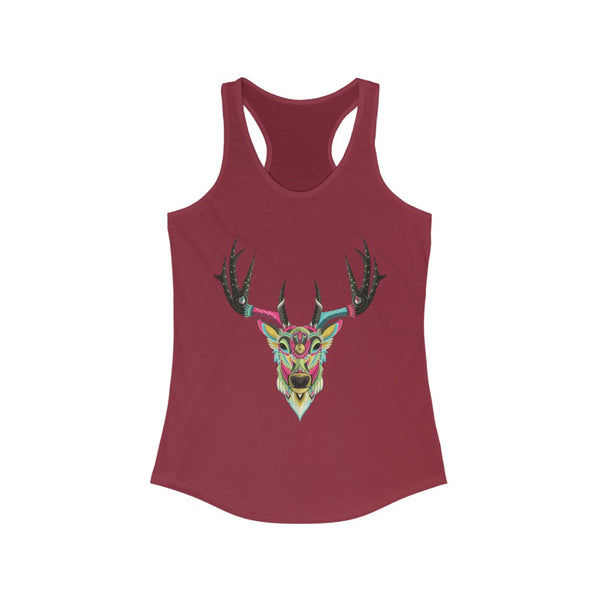 Color Elk Graphic Racerback Tank Top