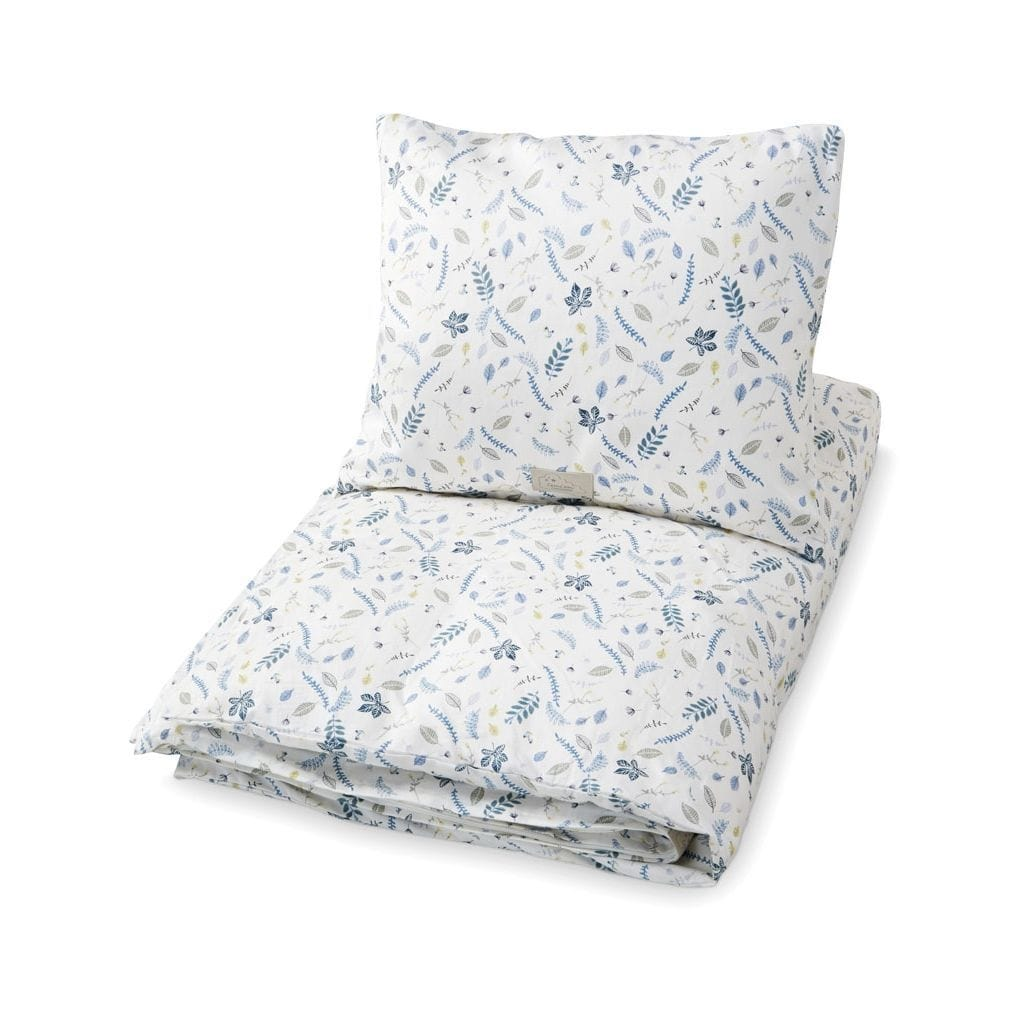 COTTON BABY BEDDING Pressed Leaves Blue