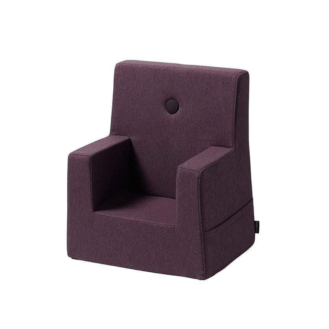 PLUM W. PLUM BUTTONS KID SOFA CHAIR