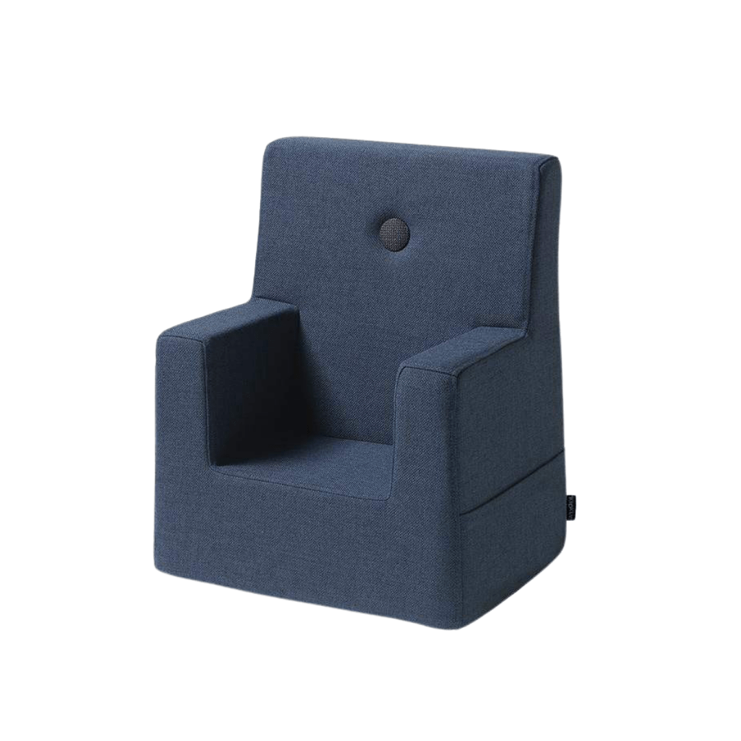 DARK BLUE W. BLACK BUTTONS KID SOFA CHAIR
