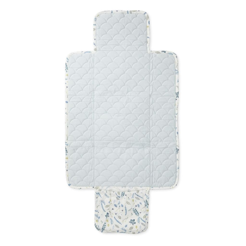 COTTON CHANGING MAT Pressed Leaves Blue