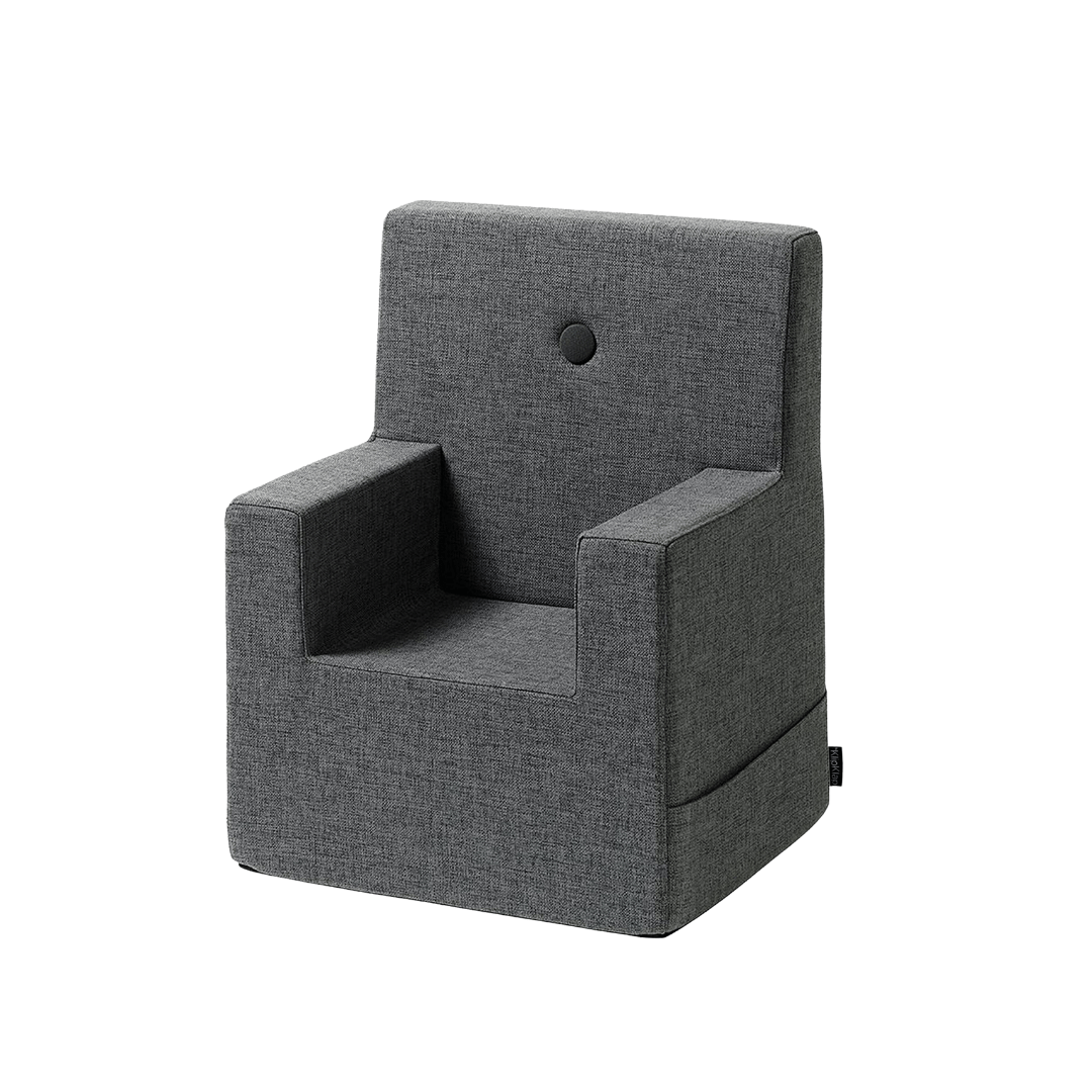 BLUE GREY W. GREY BUTTONS KID SOFA CHAIR