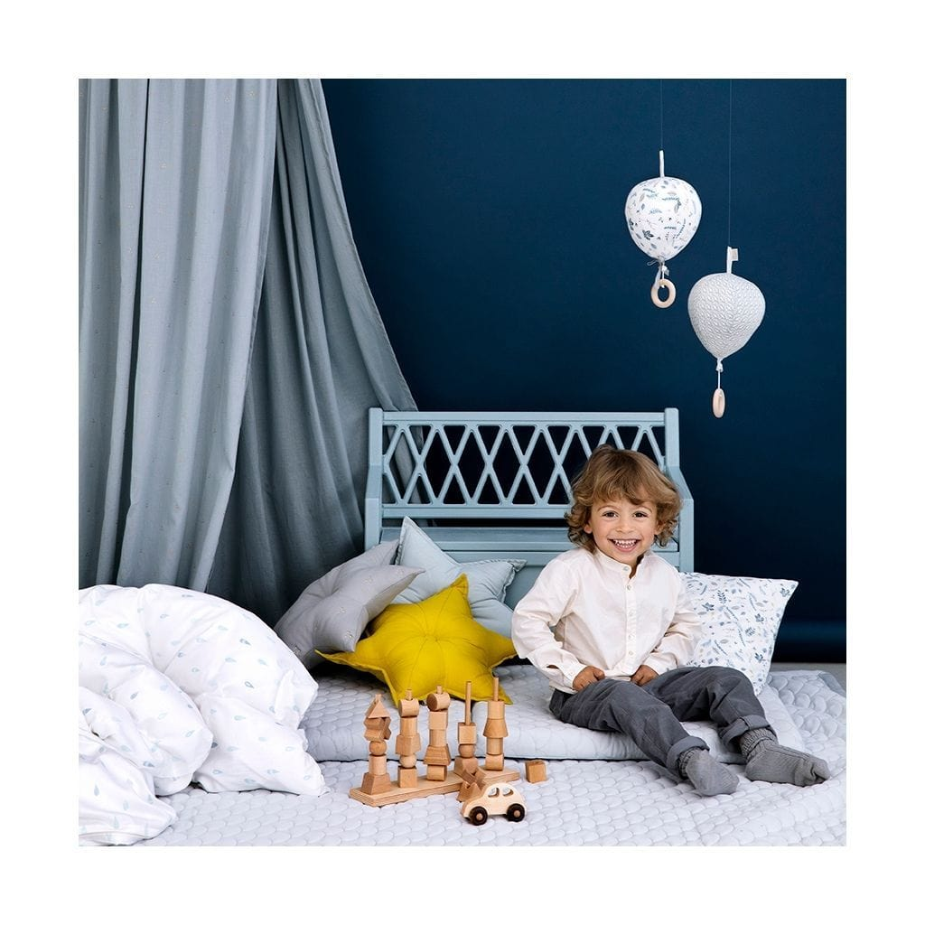COTTON BED CANOPY Dot Blue Mist