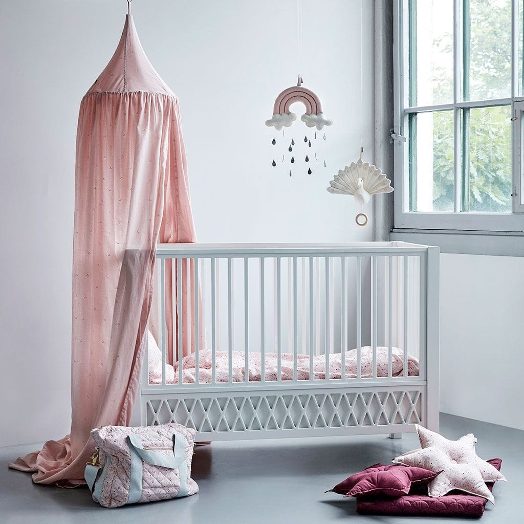 COTTON BED CANOPY Dot Blossom Pink