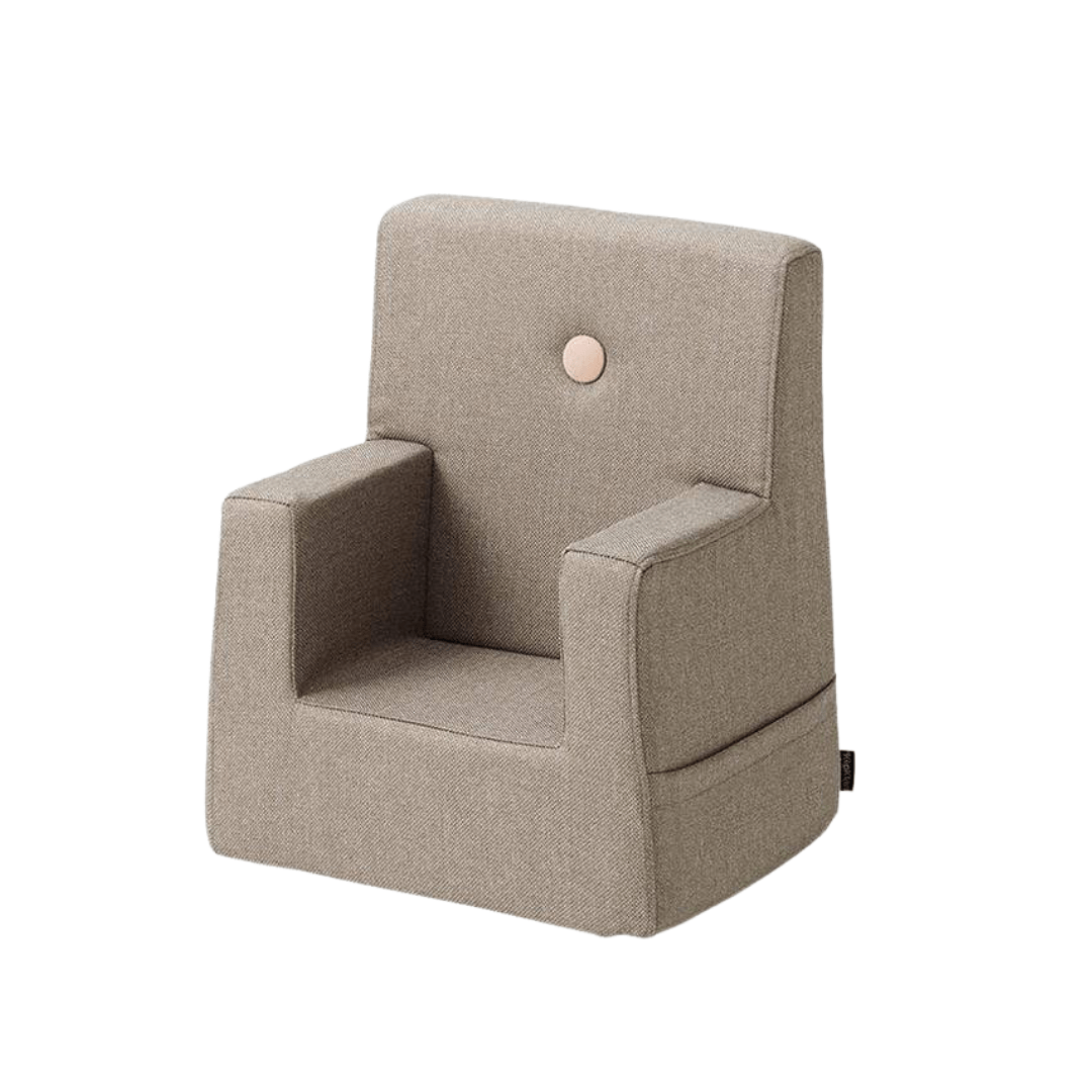 WARM GREY W. PEACH BUTTONS KID SOFA CHAIR