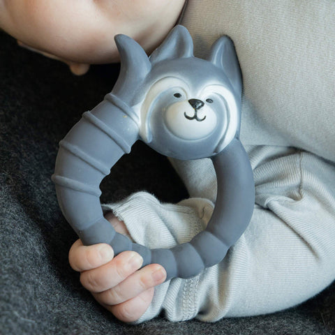 Teether Raccoon in Grey