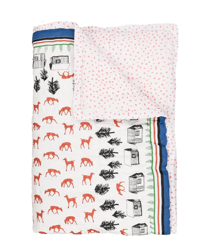 Baby Deer Sarong reversible quilted bed cover