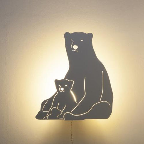Polar Bears - Decoupage Lamp Ivory