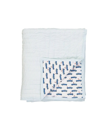 BLUE CAR REVERSIBLE QUILTED BED COVER