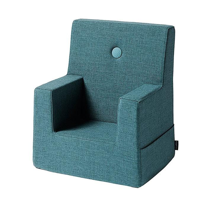DUSTY BLUE W. BLUE BUTTONS KID SOFA CHAIR