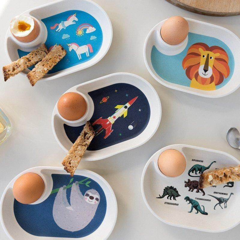 SPACE AGE BAMBOO EGG PLATE
