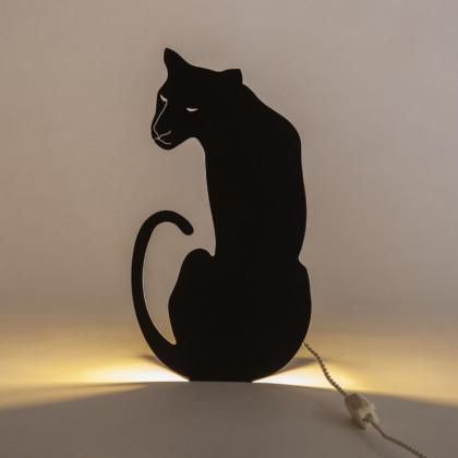 Panther - Decoupage Lamp Black