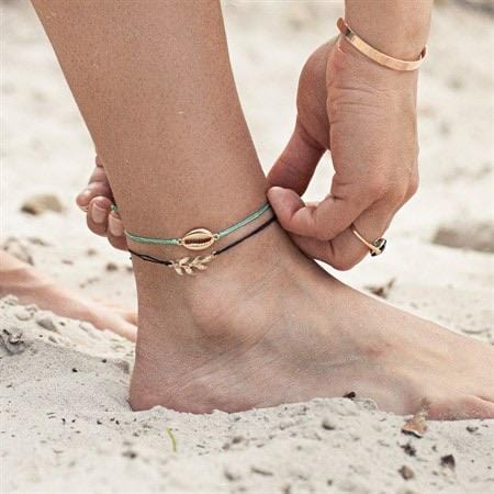 Cowrie Hemp Anklet - Gold Turquoise