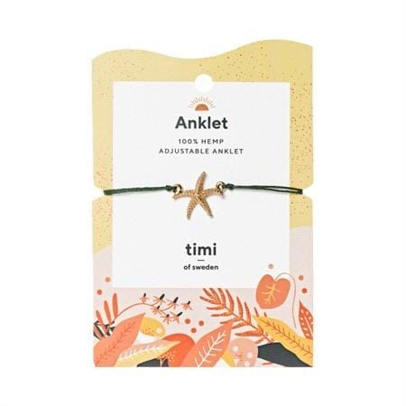 Starfish Hemp Anklet - Gold Olive